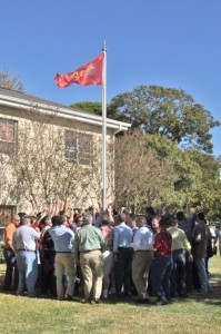 Pikes Gather Around the Flag Pole to Sing Down in Old Virginia